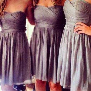 J Crew Bridesmaid short grey silk chiffon dress